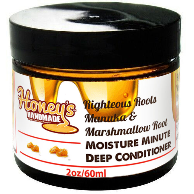 Righteous Roots  Manuka &  Marshmallow Root Moisture Minute Mini Deep Conditioner - Honey's Handmade