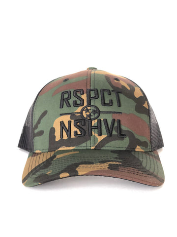 RSPCT NSHVL Camo and Black Trucker Hat