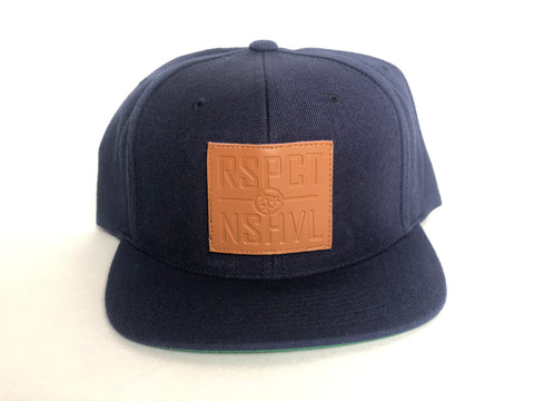 RSPCT NSHVL Leather Patch Navy Flat Bill