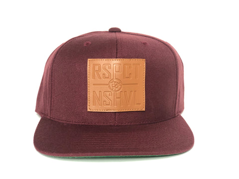 RSPCT NSHVL Leather Patch Maroon Flat Bill