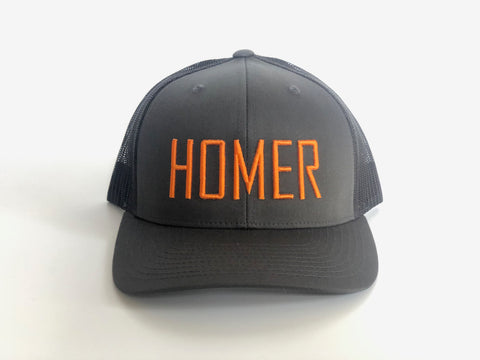 HOMER Grey and Orange Trucker Hat