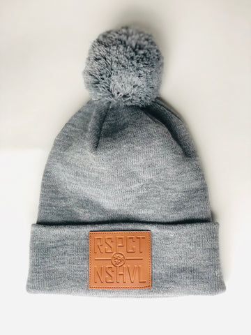 RSPCT NSHVL Leather Patch Grey Pom Beanie