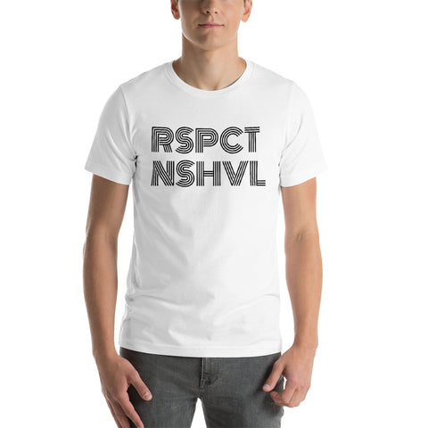 RSPCT NSHVL RETRO BLACK ON WHITE UNISEX TEE
