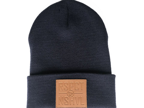RSPCT NSHVL Leather Patch Navy Beanie