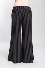 Charcoal Striped Low Rise Palazzo Pant