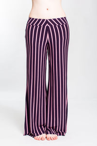 Plum Striped Low Rise Wide Leg Pant