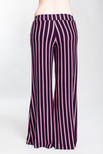 Load image into Gallery viewer, Plum Striped Low Rise Wide Leg Pant
