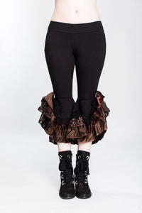 Black & Brown Monster Ruffle Capri Pant