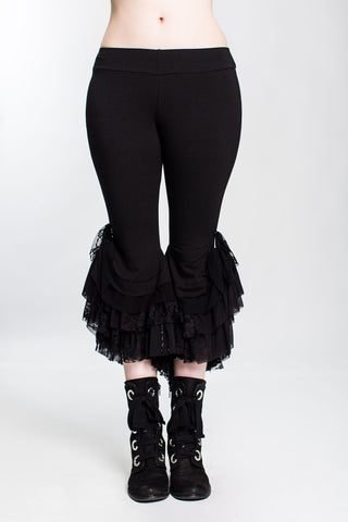 Black as Night Monster Ruffle Capri Pant