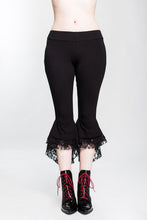 Load image into Gallery viewer, Black Lacey Ruffle Capri Pant