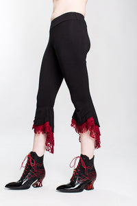 Red Lace Ruffle Capri Pant