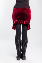 Load image into Gallery viewer, Maroon Velvet Ruffle Mini Skirt