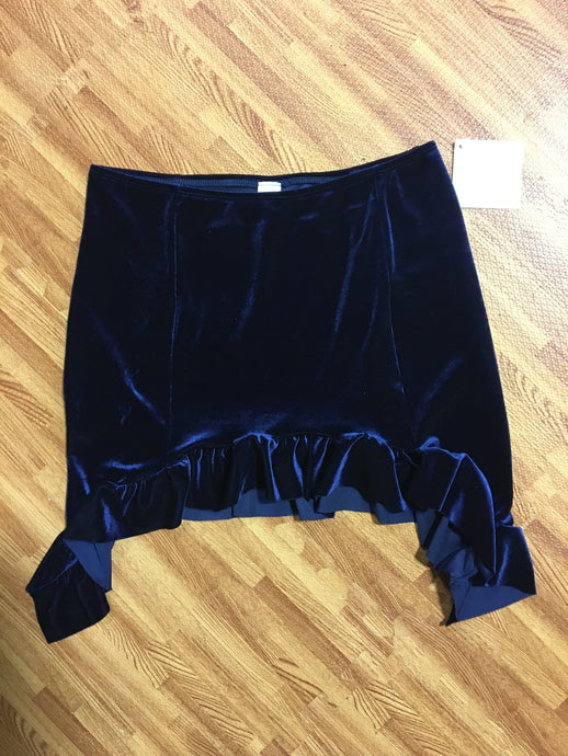 Midnight Blue Velvet Ruffle Mini Skirt
