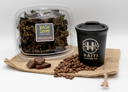 Haitian Coffee & Cacao - superfood snack  Haitian Coffee, Chocolate and Kale.  Forest shade grown, handpicked Arabica coffee  Haiti Coffee Co, roasted in Seattle, fair trade organic cacao, organic coconut milk, organic coconut palm sugar & pure vanilla combine to make this kale chip. nutrient dense greens satisfying experience