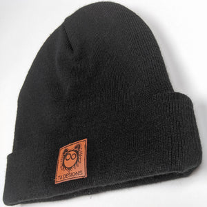 Leather Patch Black Acrylic Beanie - T6 Designs