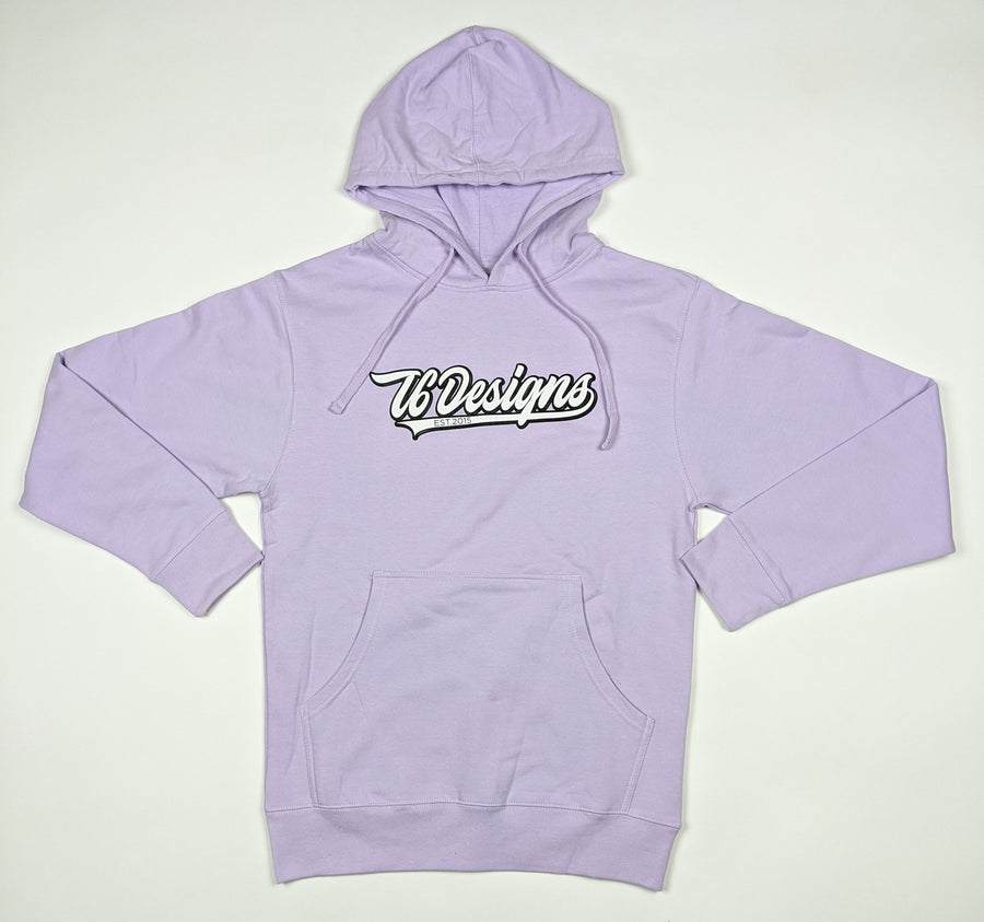 Varsity T6 - T6 Designs The design is screen printed on a LAVENDER Midweight Independent Hoodie Pullover. The hoodie is made with soft, mid-weight fleece and is perfect for any type of weather. This hoodie is 80% Cotton/20% Polyester