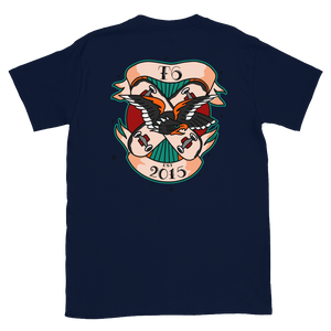 Real Tradition - T6 Designs DJ Smooth. Made on Navy Gildan Softstyle Unisex which is made of thicker, heavier cotton, but it's still soft and comfy. Design is DTG and American Traditional Inspired.