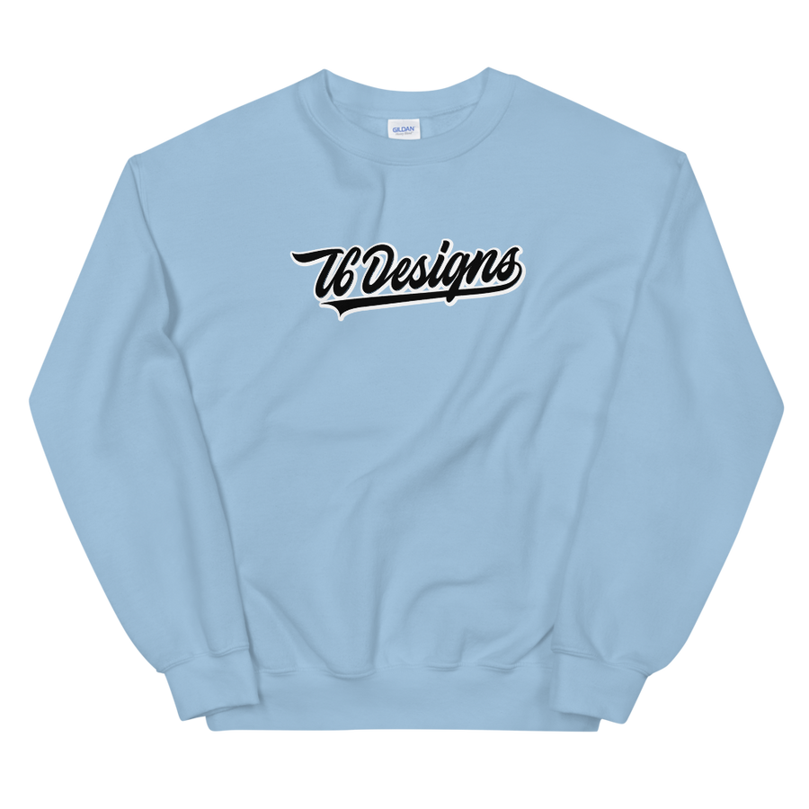 Jr. Varsity - T6 Designs Blue It's a classic fit sweater that's made with air-jet spun yarn for a soft feel and reduced pilling. These crew necks are made with 50% cotton, 50% polyester, athletic rib knit collar with spandex, and is pre-shrunk. The design is Direct To Garment.