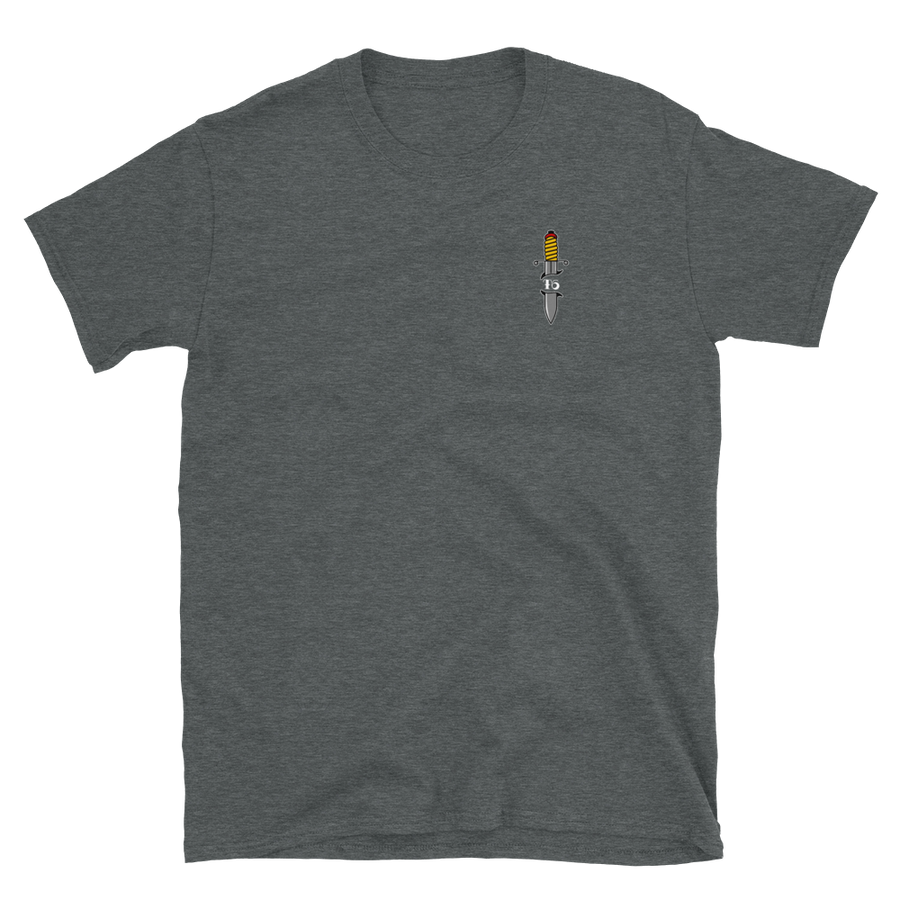 Real Tradition - T6 Designs DJ Smooth. Made on Grey Gildan Softstyle Unisex which is made of thicker, heavier cotton, but it's still soft and comfy. Design is DTG and American Traditional Inspired.
