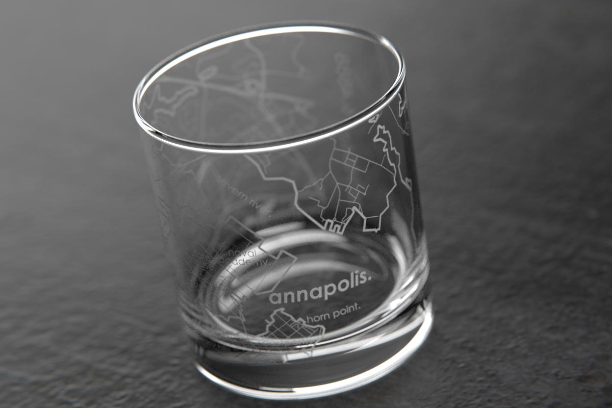 Annapolis MD Map Rocks Glass