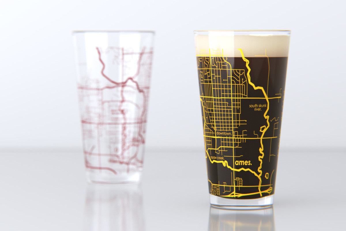 Ames Ia Iowa State College Town Map Pint Glass Set