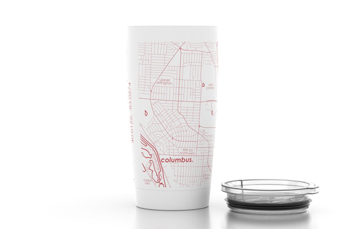 Columbus Oh Ohio State Color College Town Map 20 Oz Insulated
