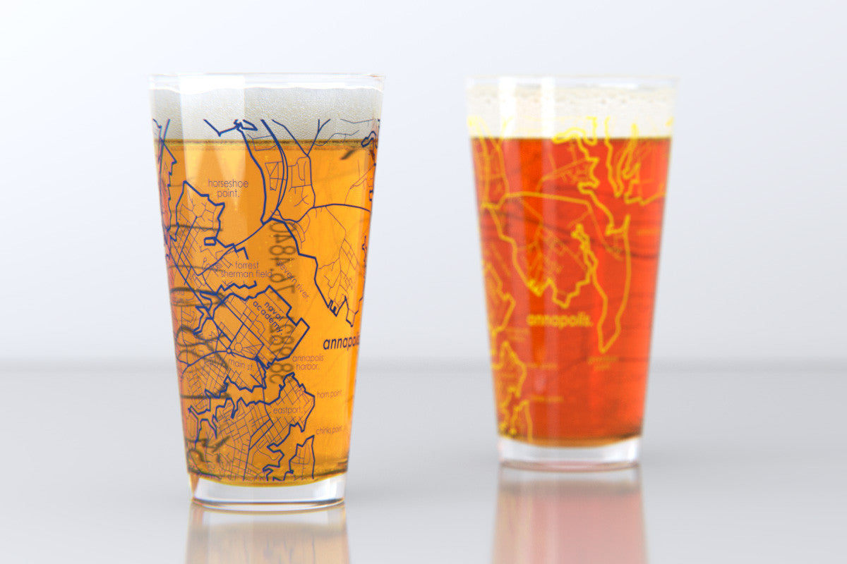 Annapolis MD US Naval Academy College Town Map Pint Glass