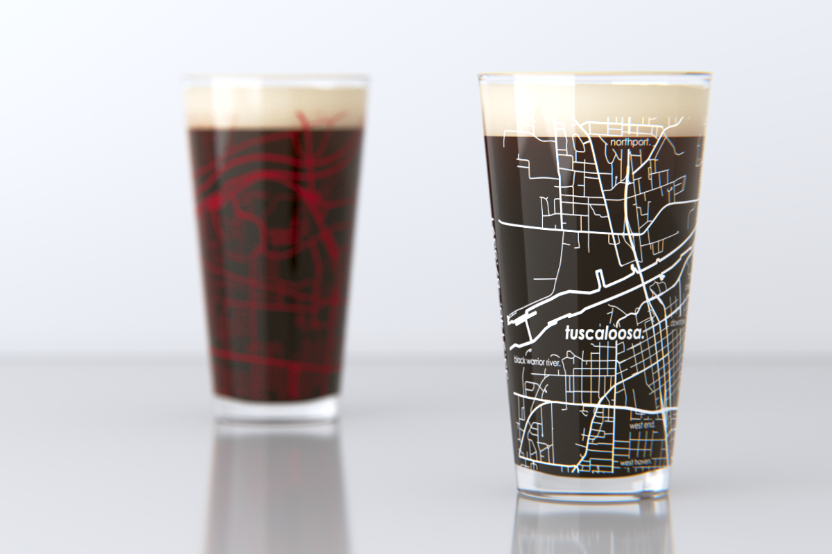 Tuscaloosa, AL - University of Alabama - College Town Map Pint Glass Set