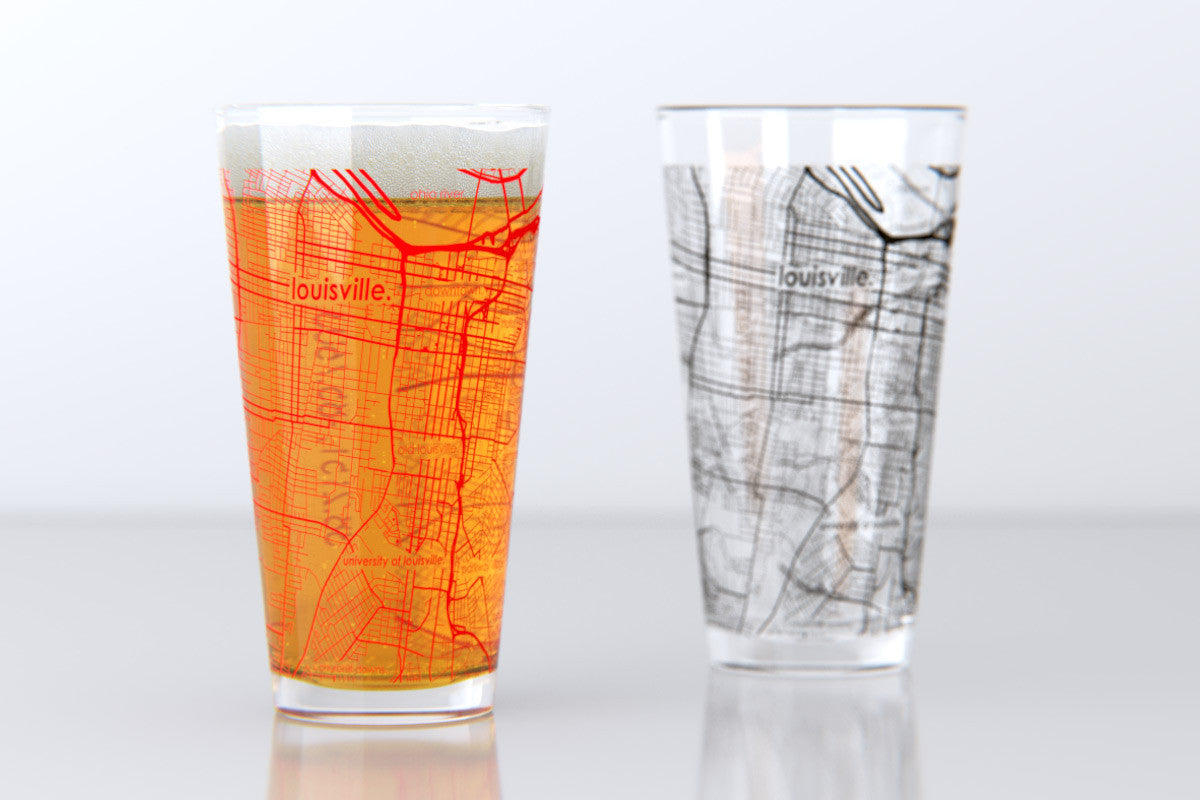 Louisville Usa Map.Louisville Ky University Of Louisville College Town Map Pint Glass