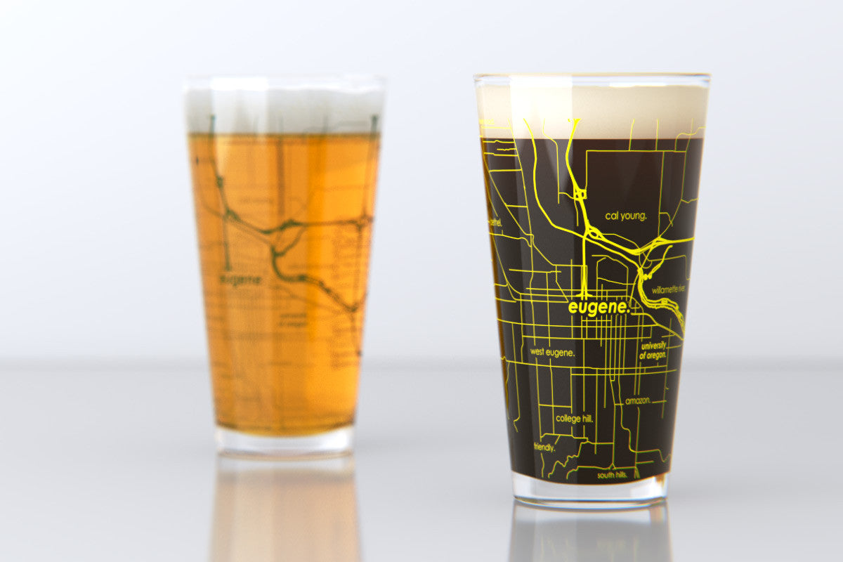 Eugene Or University Of Oregon College Town Map Pint Glass Set
