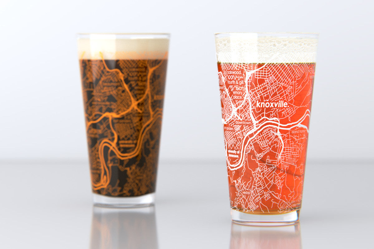 Knoxville TN University of Tennessee College Town Map Pint