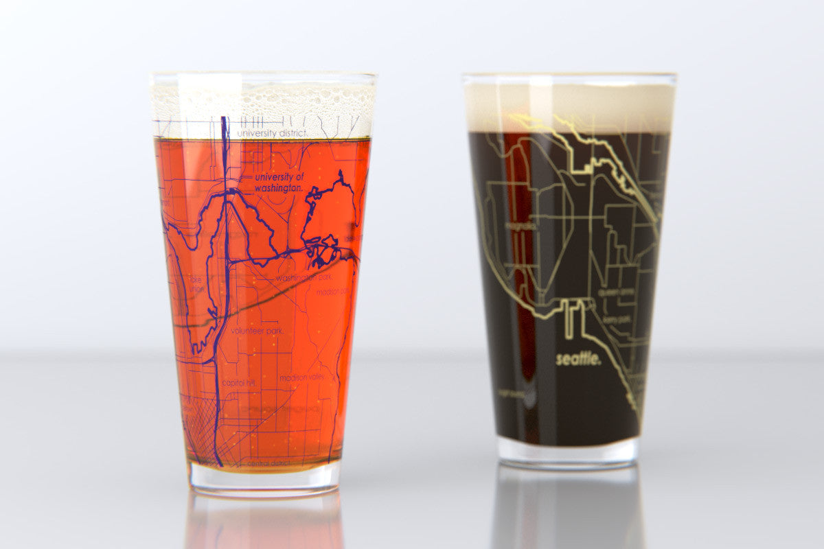 Seattle WA University of Washington College Town Map Pint