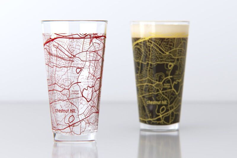 Chestnut Hill, MA - Boston College - College Town Map Pint Glass Set