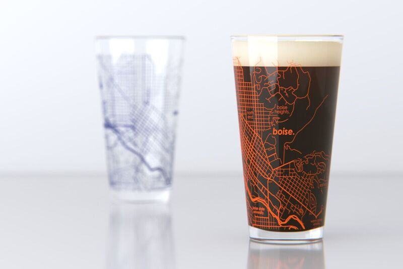Boise Id Boise State College Town Map Pint Glass Set