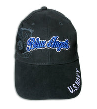 Load image into Gallery viewer, Blue Angels Embroidered Black & Royal Tonal Crest Cap
