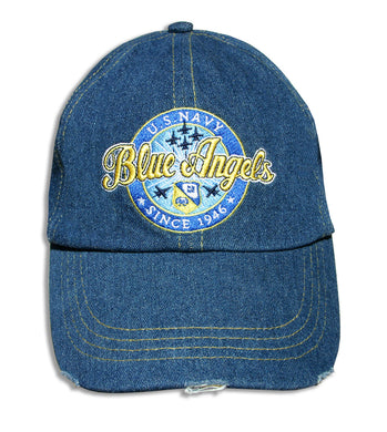 Blue Angels Relaxed Distressed Denim Embroidered Cap