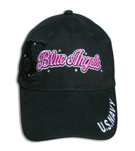 Load image into Gallery viewer, Blue Angels Ladies Tonal Black & Pink Bling Embroidered Cap