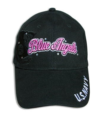 Blue Angels Ladies Tonal Black and Pink Bling Embroidered Cap