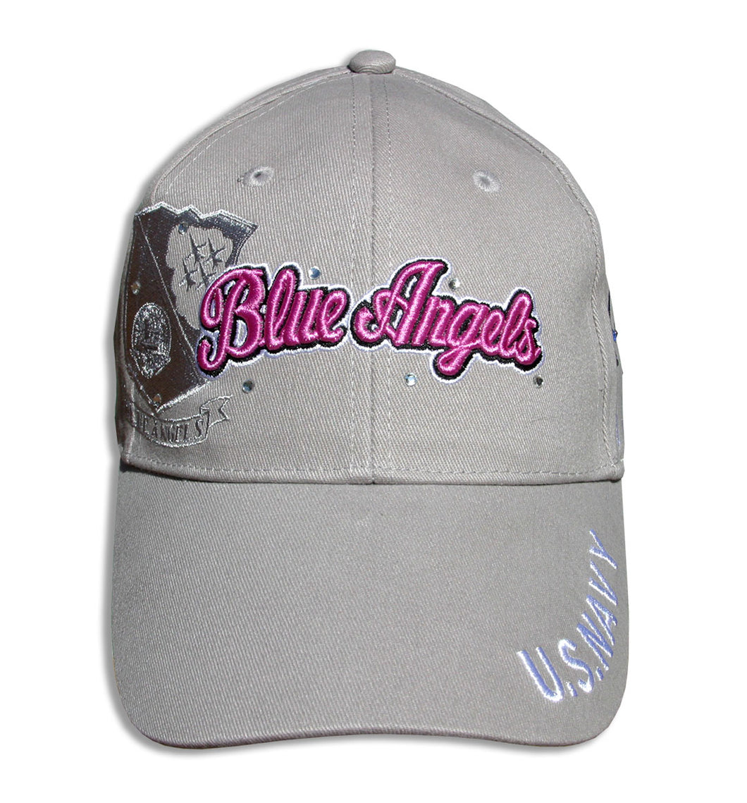 Blue Angels Ladies Tonal Khaki & Pink Bling Embroidered Cap