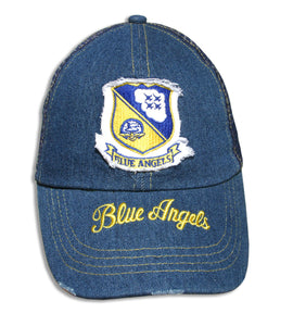 Blue Angels Distressed Denim Mesh Embroidered Cap