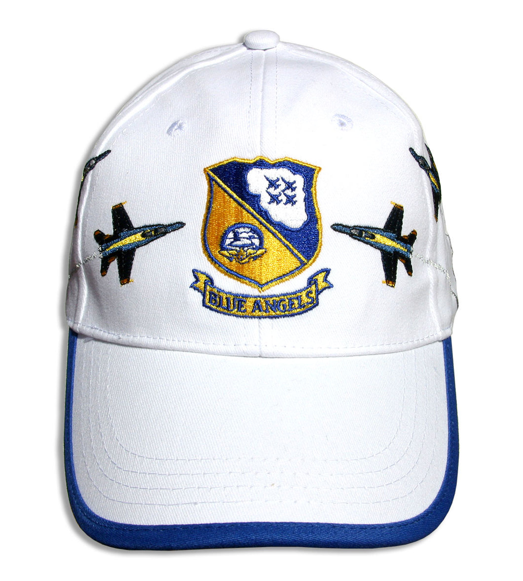 Blue Angels White Royal Crest Breakout Embroidered Cap
