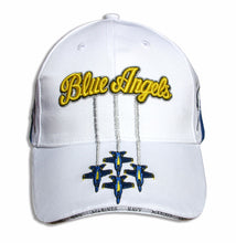 Load image into Gallery viewer, Blue Angels White, Royal & Gold Diamond Solo Embroidered Cap