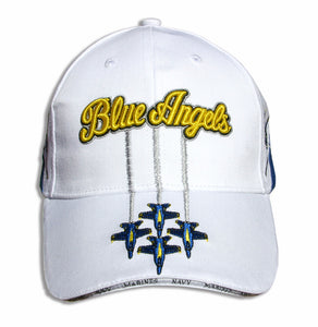 Blue Angels White, Royal & Gold Diamond Solo Embroidered Cap