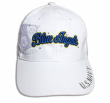 Load image into Gallery viewer, Blue Angels Ladies Tonal White & Royal Bling Embroidered Cap