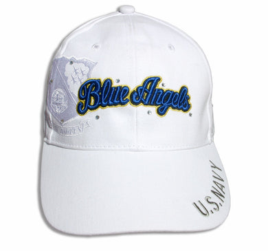 Blue Angels Ladies Tonal White and Royal Bling Embroidered Cap