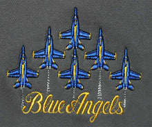 Load image into Gallery viewer, Blue Angels Charcoal Performance Embroidered Polo