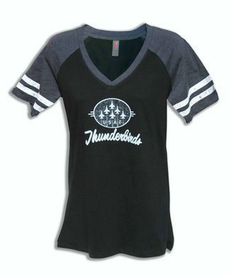 Ladies Glitter V Neck Football T Shirt