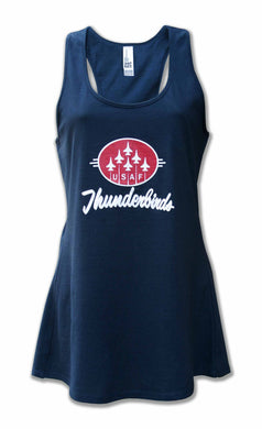 Ladies Navy Blue Glitter Tank Top