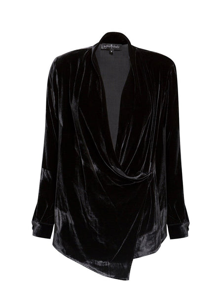 %100 SILKVELVET WRAP OVER SHIRT