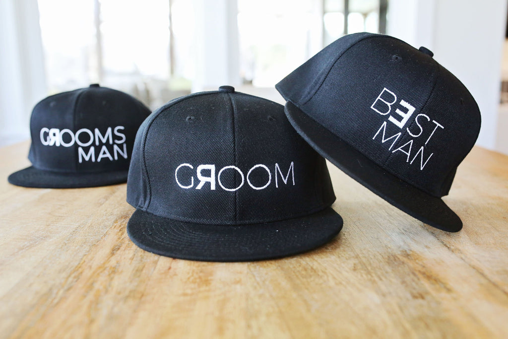 b3d2fb58 Groom, Groomsman, and Best Man Snapback Hats